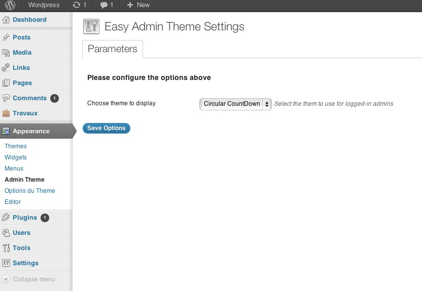 Easy Admin Theme settings
